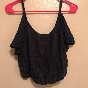 hollister cold shoulder crop top .